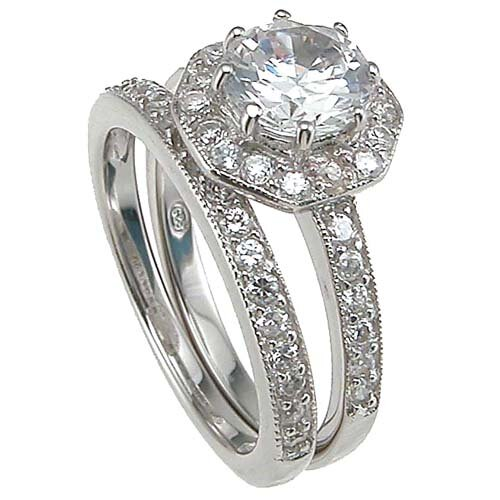 Plutus Partners .925 Sterling Silver Brilliant Cut Cubic Zirconia Engagement Ring Set