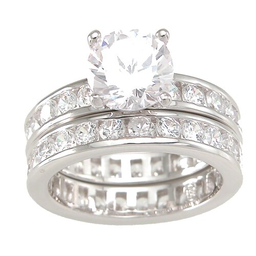 .925 Sterling Silver Brilliant Cut Cubic Zirconia Double Eternity Wedding Ring Set