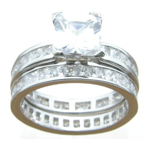 .925 Sterling Silver Princess Cut Cubic Zirconia Eternity Wedding Ring Set