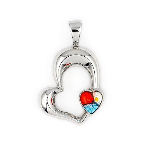 Plutus Partners Sterling Silver Millefiori Glass Cut Out Heart Pendant