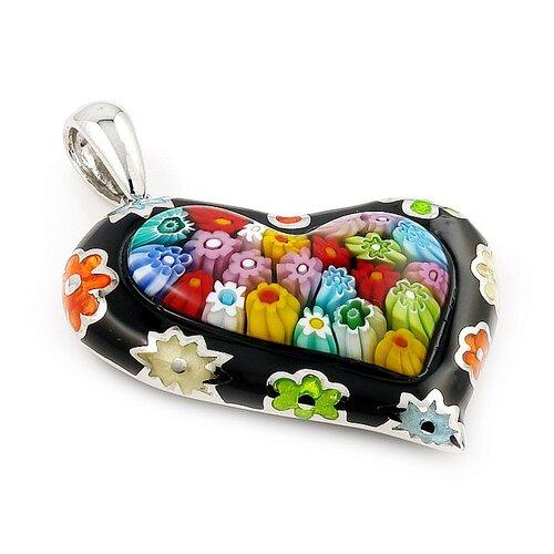 Plutus Partners Sterling Silver Millacreli Glass Heart Pendant