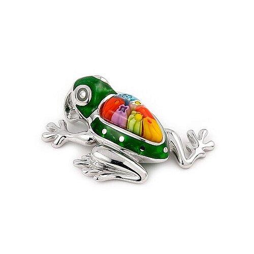 Sterling Silver Millacreli Glass Frog Pendant