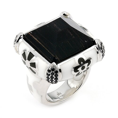Designo Sterling Silver Square Faceted Crystal Ring