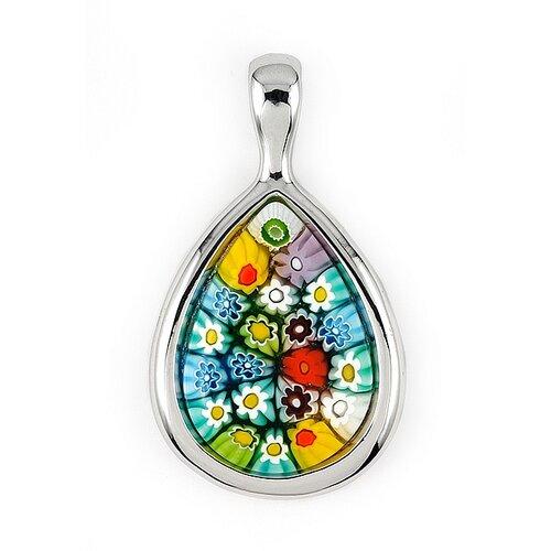 Plutus Partners Sterling Silver Millefiori Glass Drop Pendant