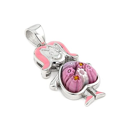 Sterling Silver Millefiori Glass Girl with Dangling Heart Body Pendant