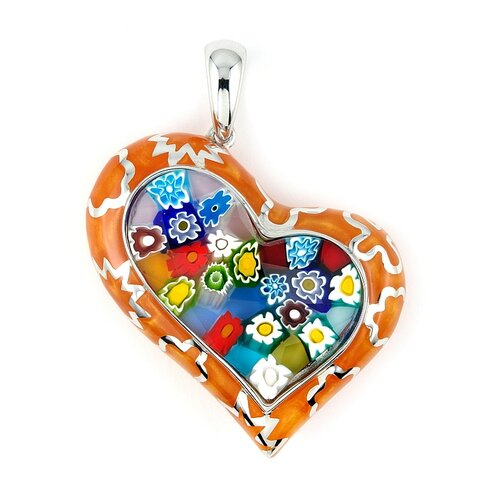 Plutus Partners Sterling Silver Millacreli Glass Curved Heart Pendant