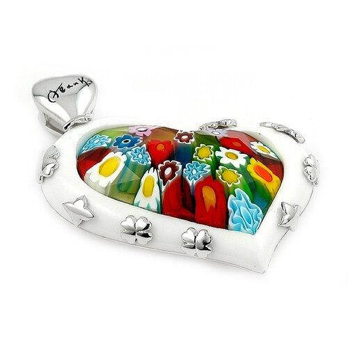 Sterling Silver Millacreli Glass Heart Pendant