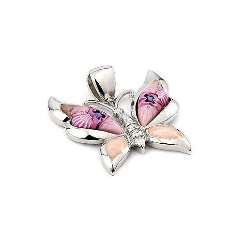 Sterling Silver Millefiori Glass Butterfly Pendant