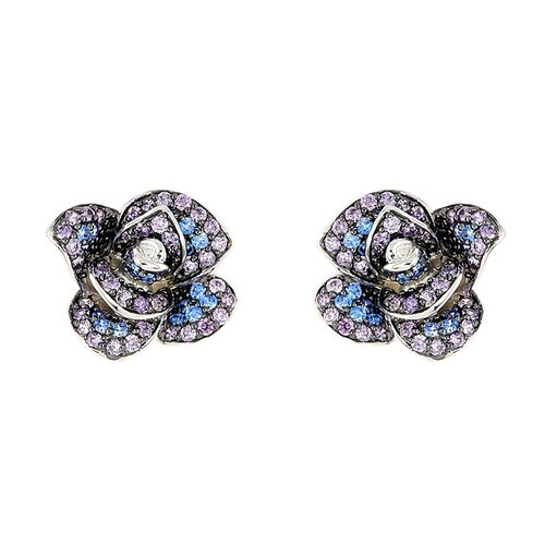 Plutus Partners Ferroni Swarovski Elements Zirconia Rose Stud Earrings