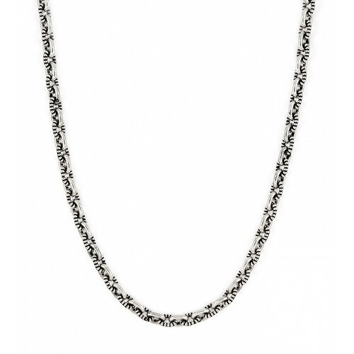 Twisted Blade Silver Oval Link Beaded Necklace