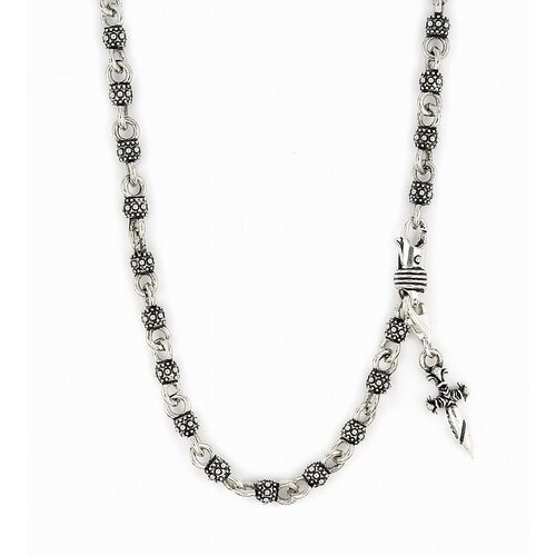 Twisted Blade Silver Studded Ball Link Necklace