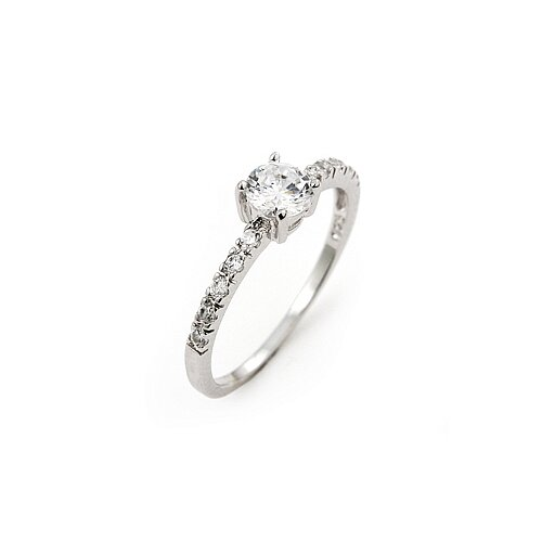Wedding Sterling Silver Cubic Zirconia Solitaire Ring