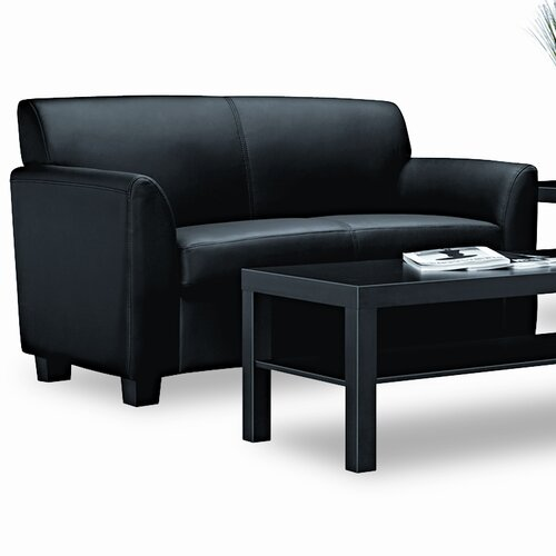 HON Basyx Tailored Leather Reception 2-Cushion Loveseat