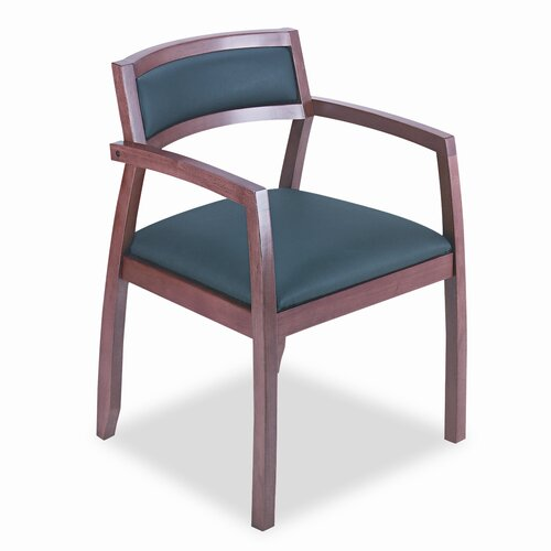 HON Basyx Wood Guest Chairs with Leather Seat/Back