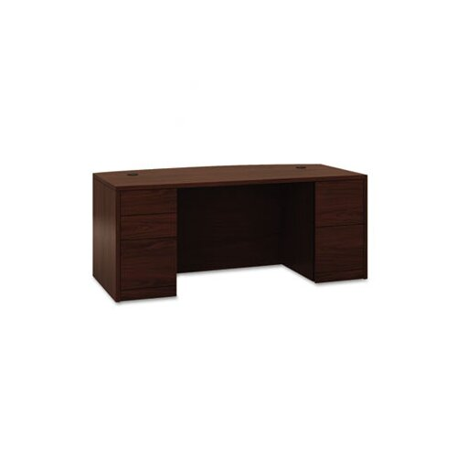 HON 10500 Series Bow Front Double Pedestal Desk with Full-Height Pedestals