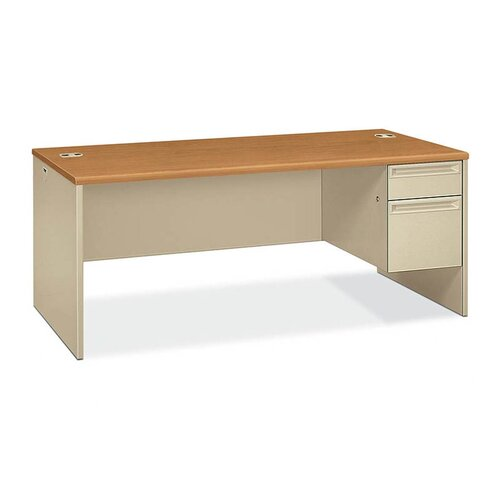 HON 38000 Series Computer Desk with Right Pedestal and Lock