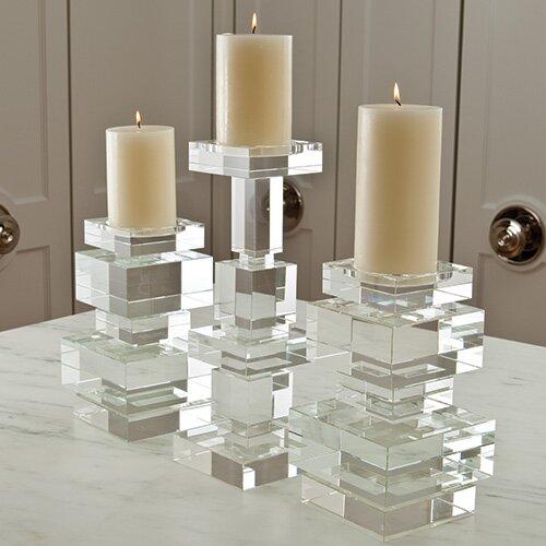 Global Views Brilliant Pillar Crystal Candlestick