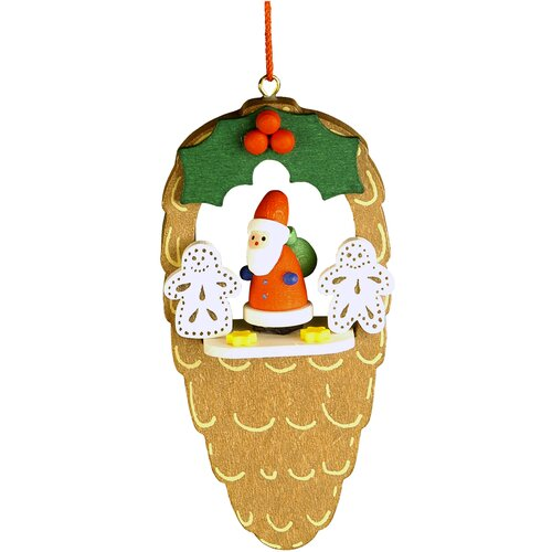 Christian Ulbricht Santa with Gingerbread Cookies Pinecone Ornament