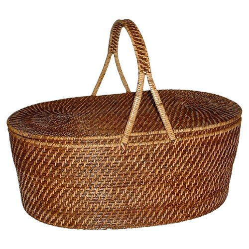 Eco-Friendly Oval Picnic Basket with Handle