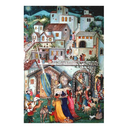 Alexander Taron Large Bethlehem Advent Calendar with Bible Verses