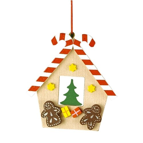 Christian Ulbricht Gingerbread House with Candy Cane Roof Ornament
