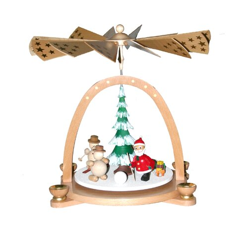 Richard Glaesser Wood Snowmen Pyramid Canlde Holder