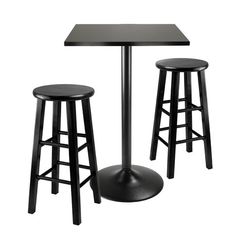 Winsome Obsidian 3 Piece Counter Height Pub Set