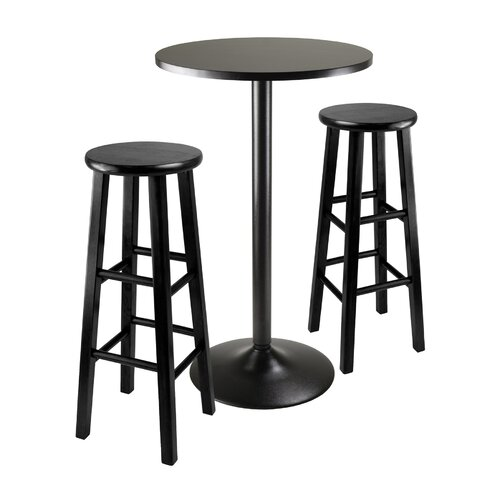 Winsome Obsidian 3 Piece Counter Height Pub Table