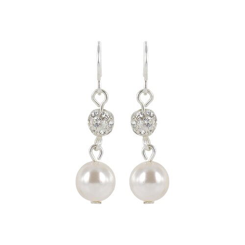Simulated Cultured Pearl and Pave Fireball Drop Earrings