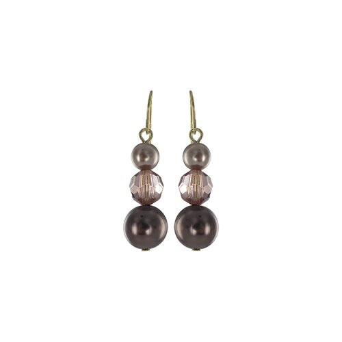 Simulated Cultured Pearl and Light Smoky Crystal Earrings