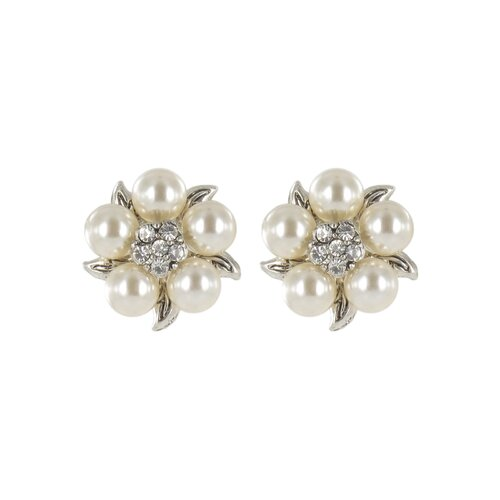Roman Cultured Pearl and Crystal Cluster Stud Earrings