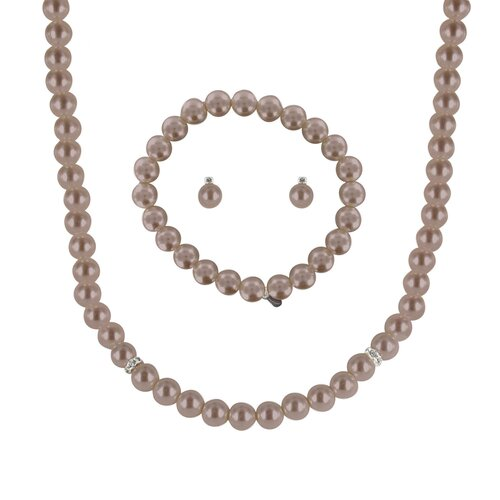 Roman Cultured Pearl 3 Piece Necklace, Bracelet, and Earring Set
