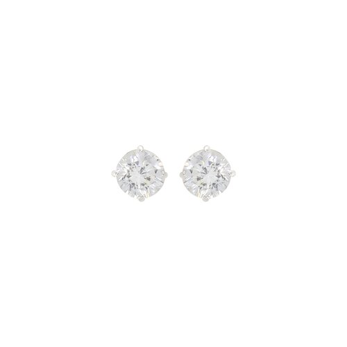Sunstone Studs Round White Cubic Zirconia Post Earring