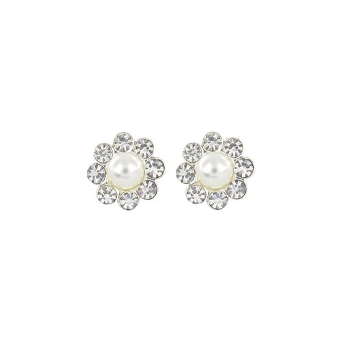 Studs Button Flower Cultured Pearl Center Earring
