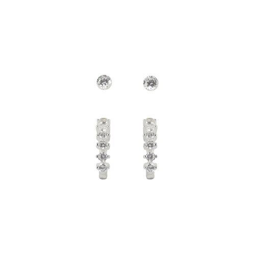 Sunstone Multis Round and Half Hoop Cubic Zirconia Duo Earring