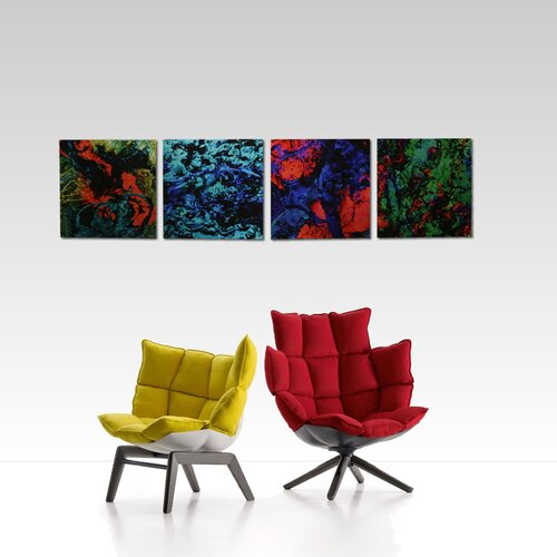 Metal Art Studio Bright Lights 4 Piece Graphic Art Plaque Set