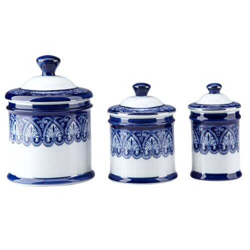 blue kitchen canister sets sales canister sets canisters ceramic blue 3 piece canister set with metal finials