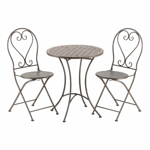Cantabria 3 Piece Bistro Table and Folding Chair Set