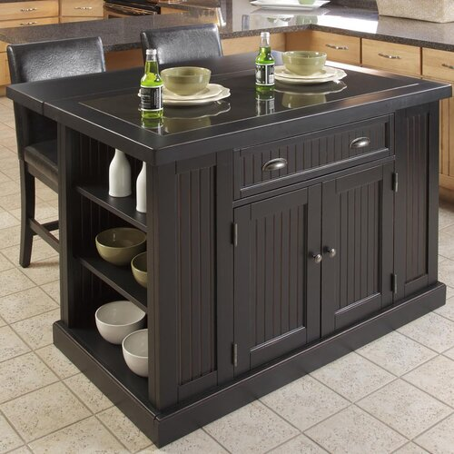 Home Styles Nantucket Kitchen Island Set with Granite Top