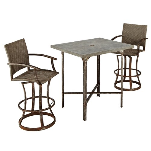 Home Styles Urban Outdoor 3 Piece Bar Height Dining Set