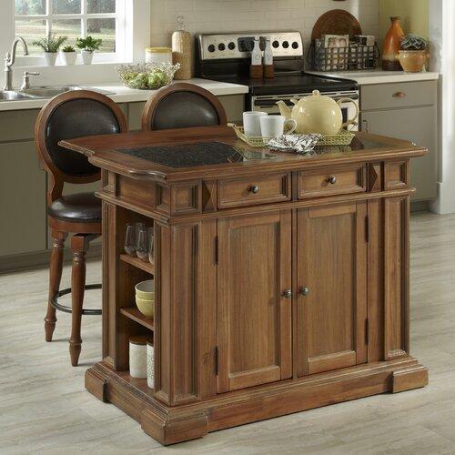 Americana Kitchen Island Set with Granite Top