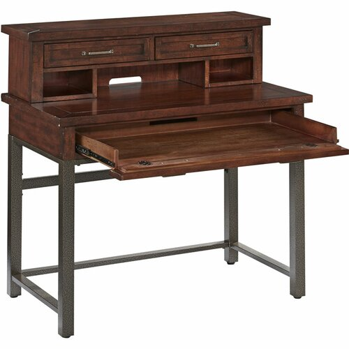 Home styles cabin creek computer desk with hutch and keyboard tray reviews wayfair - Hutch style computer desk ...