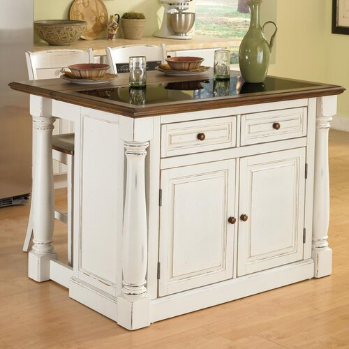Monarch Kitchen Island Set with Granite Top