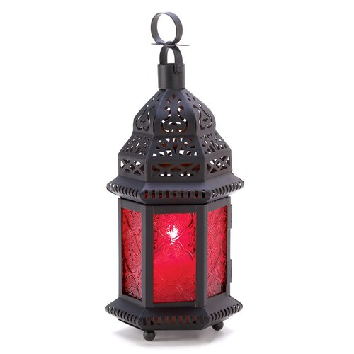Zingz & Thingz Red Glass Moroccan Lantern