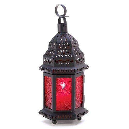 Zingz & Thingz Red Glass Moroccan Lantern