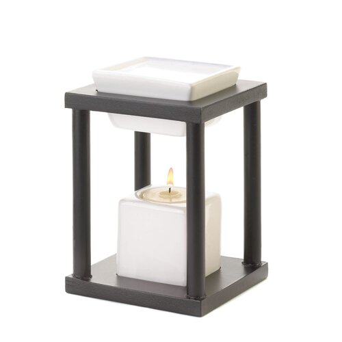 Zingz & Thingz Contemporary Ceramic and Wood Tealight Oil Warmer