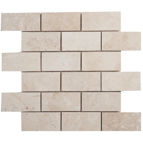 Travertine Mosaic Brick Filled and Honed Tile in Light Ivory