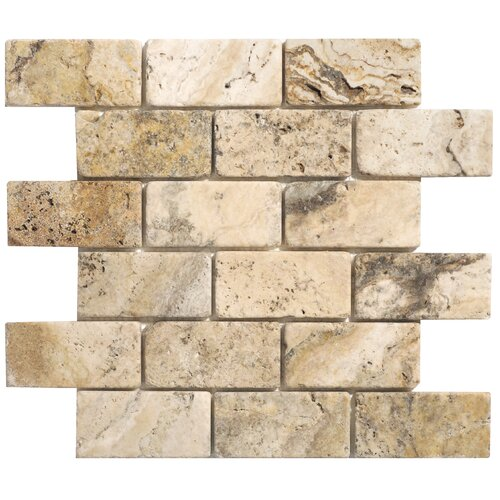 Philadelphia Travertine Mosaic Brick Tumbled Tile in Beige and Gray