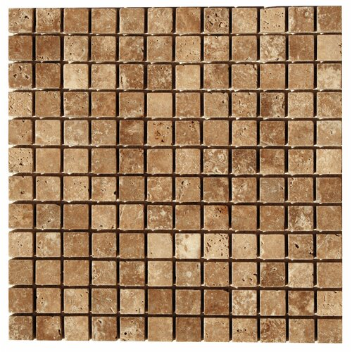 Travertine Mosaic Tumbled Tile in Noce