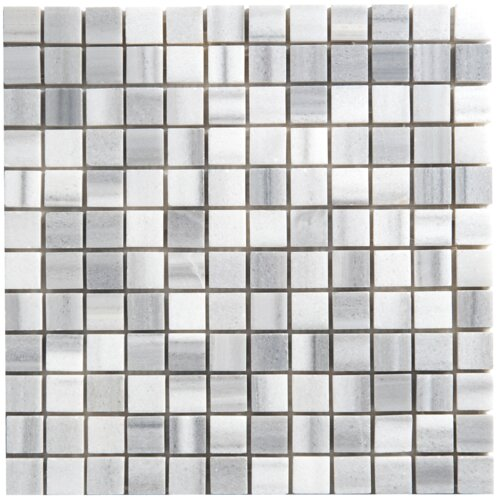Equator Marble Mosaic Polished Tile in White and Gray